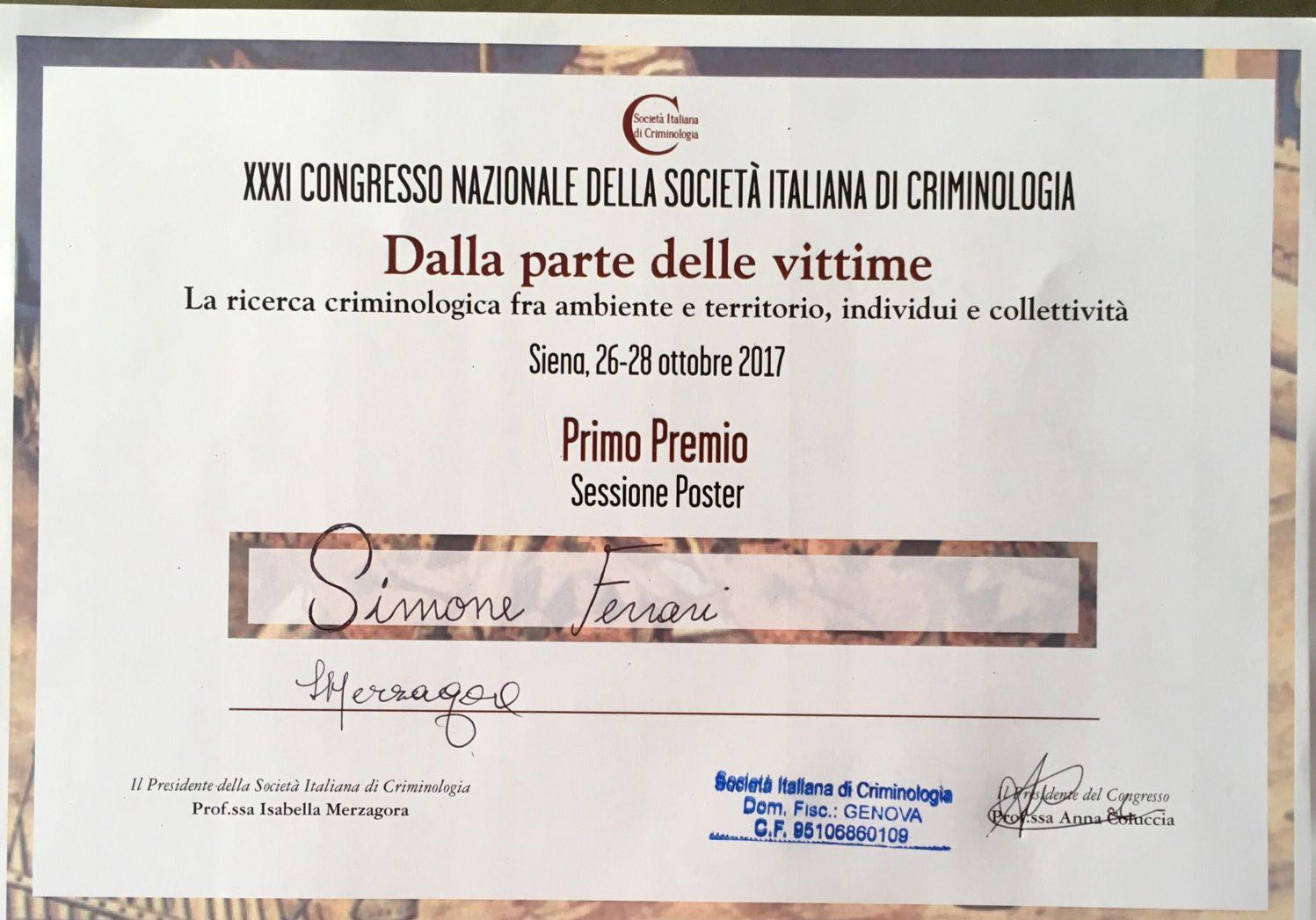 Sic primo premio a simone ferrari sessione poster laic for Societa italiana di criminologia